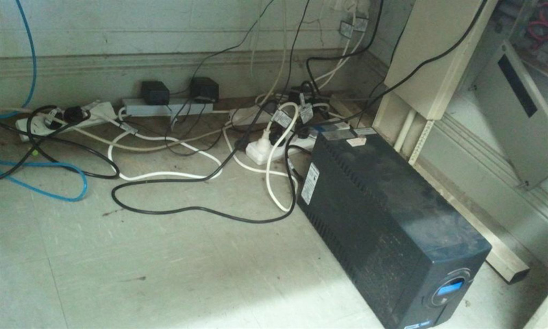 Potential Hazard –  Dusty and potential overload:  4 power boards running off 1 power point